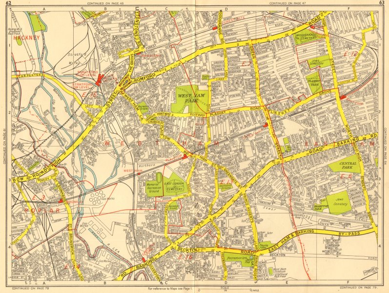 Associate Product LONDON EAST END Tower Hamlets Newham Stratford West Ham GEOGRAPHERS A-Z 1956 map