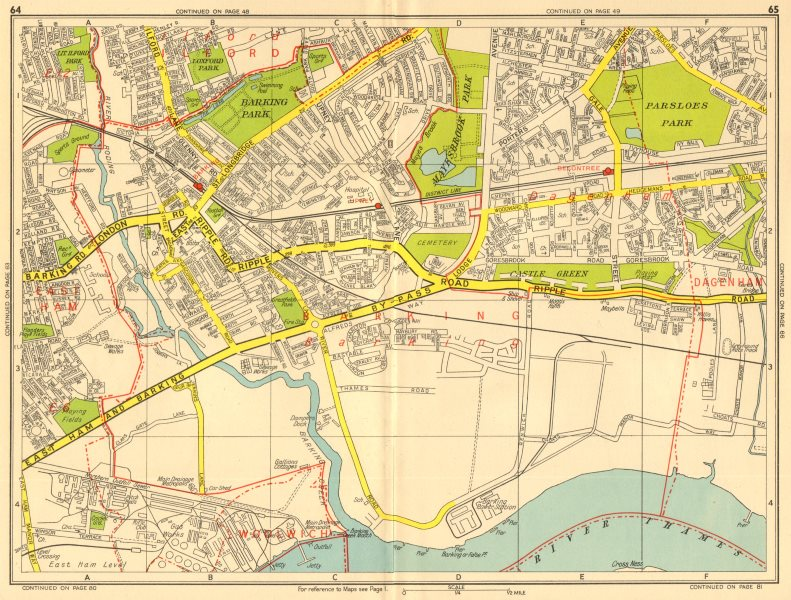 Associate Product BARKING DAGENHAM Becontree Upney Ilford. GEOGRAPHERS' A-Z 1956 old vintage map