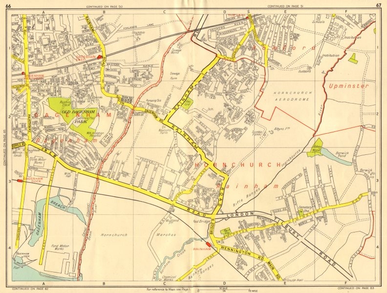 Associate Product SOUTH HORNCHURCH Rainham Dagenham Elm Park. GEOGRAPHERS' A-Z 1956 old map