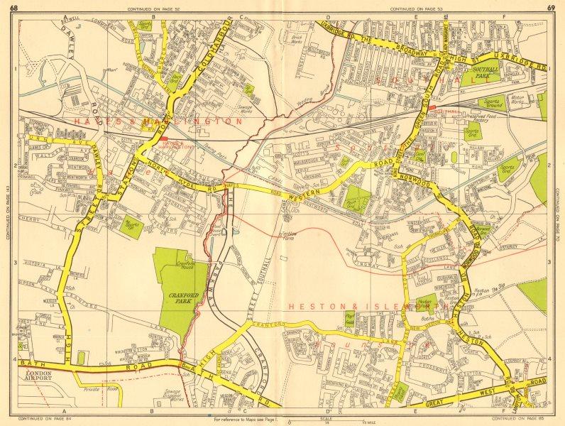 Associate Product HAYES HOUNSLOW SOUTHALL Harlington Cranford Heston. GEOGRAPHERS' A-Z 1956 map