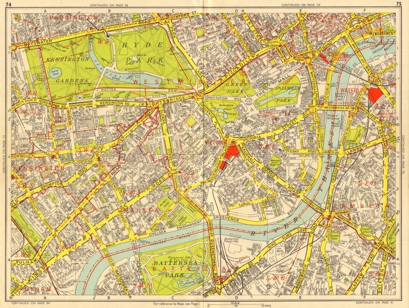 WESTMINSTER CHELSEA LAMBETH Battersea Mayfair Victoria. GEOGRAPHERS A-Z 1956 map