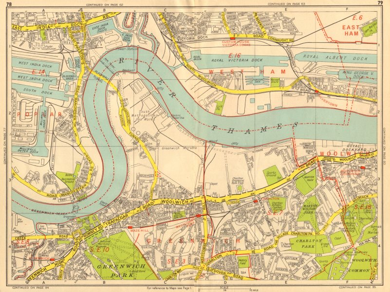 Associate Product GREENWICH Isle of Dogs Woolwich Charlton Royal Docks. GEOGRAPHERS' A-Z 1956 map
