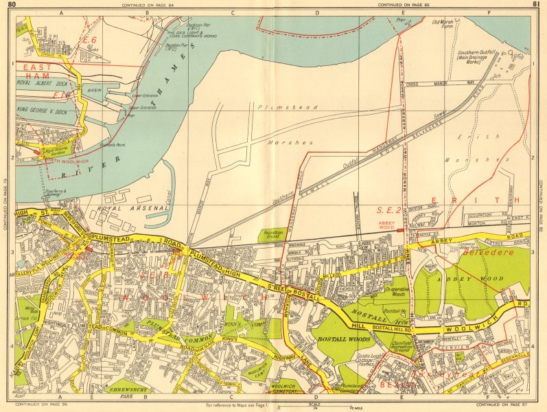 Associate Product WOOLWICH Plumstead Abbey Wood Belvedere Thamesmead. GEOGRAPHERS' A-Z 1956 map