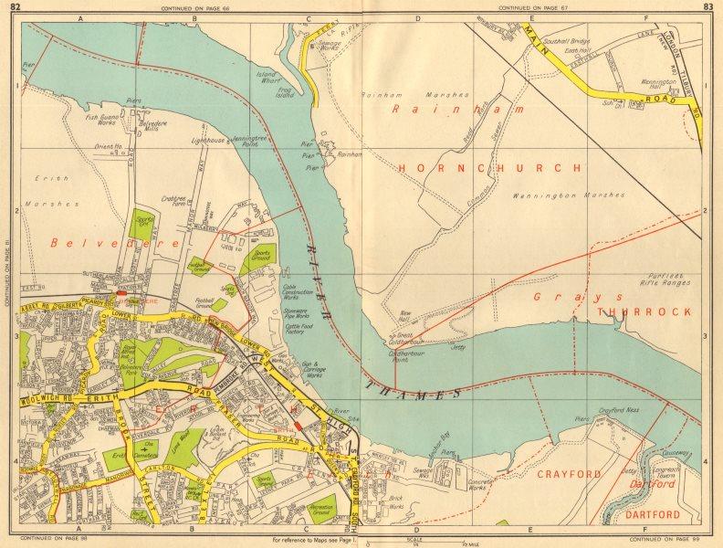 Associate Product ERITH Belvedere Rainham Marshes Wennington. GEOGRAPHERS' A-Z 1956 old map