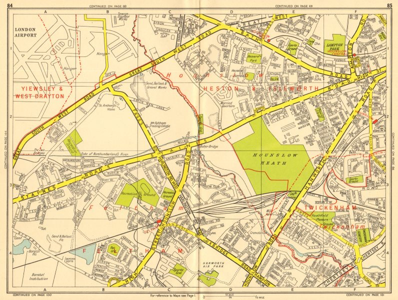 Associate Product HOUNSLOW Feltham Twickenham Heathrow Airport. GEOGRAPHERS' A-Z 1956 old map