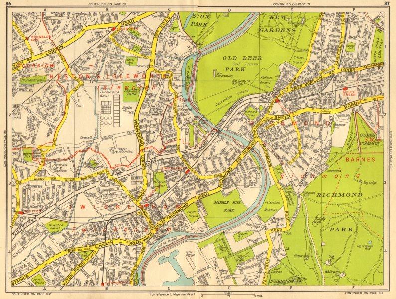 Associate Product RICHMOND ISLEWORTH TWICKENHAM North Sheen Hounslow. GEOGRAPHERS' A-Z 1956 map