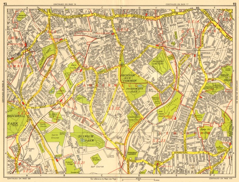 Associate Product SOUTHWARK Brixton Dulwich Peckham Honor Catford. GEOGRAPHERS' A-Z 1956 old map