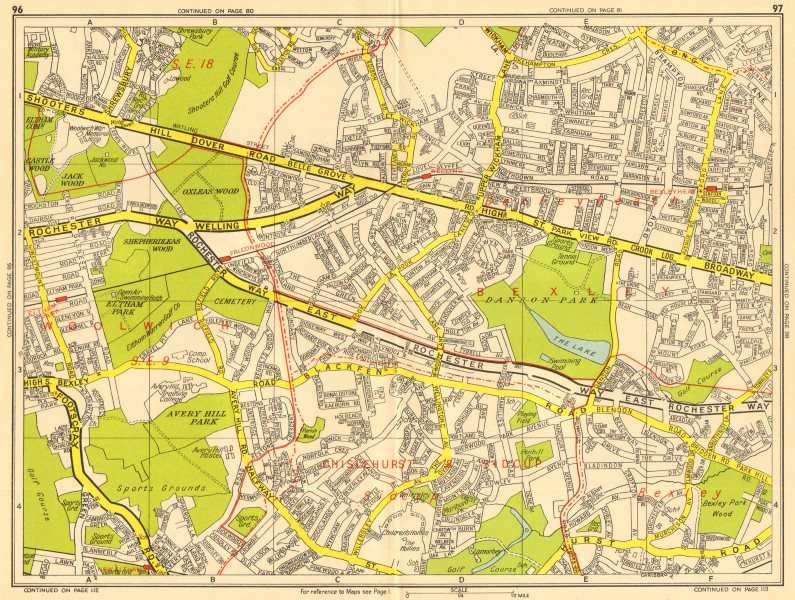 Associate Product BEXLEY Bexleyheath Eltham East Wickham Shooters Hill. GEOGRAPHERS' A-Z 1956 map