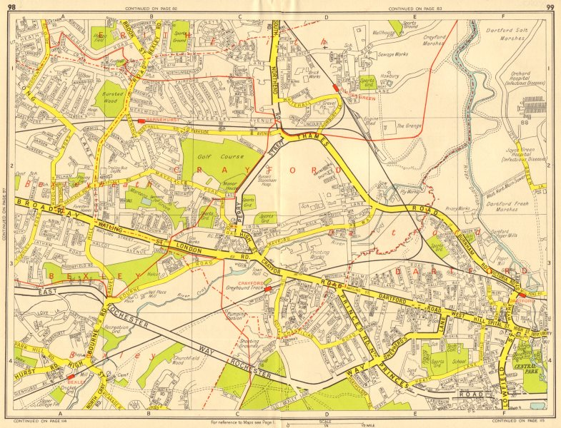 Associate Product DARTFORD Crayford Bexleyheath Erith Slade Green. GEOGRAPHERS' A-Z 1956 old map