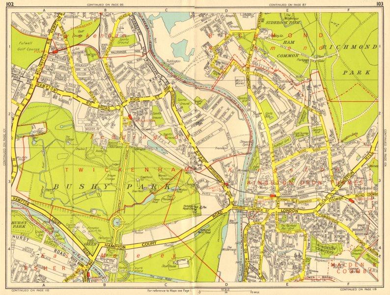 Associate Product KINGSTON-UPON-THAMES TEDDINGTON East Molesey Bushy Park GEOGRAPHERS A-Z 1956 map