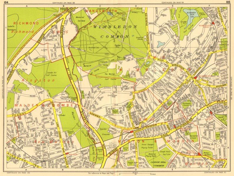 Associate Product LONDON SW19 SW20 Wimbledon New Malden Kingston Merton. GEOGRAPHERS' A-Z 1956 map