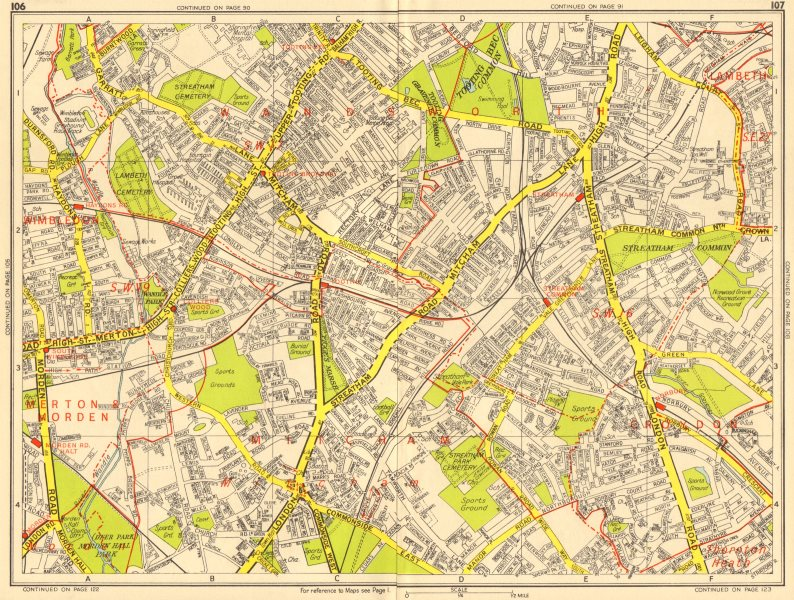Associate Product STREATHAM SW16 SW19 SW17 Mitcham Tooting Norbury. GEOGRAPHERS' A-Z 1956 map