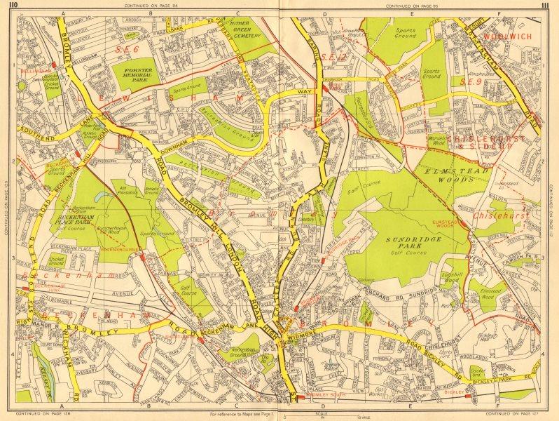 Associate Product BECKENHAM BROMLEY CATFORD Grove Park Bellingham Bickley GEOGRAPHERS A-Z 1956 map