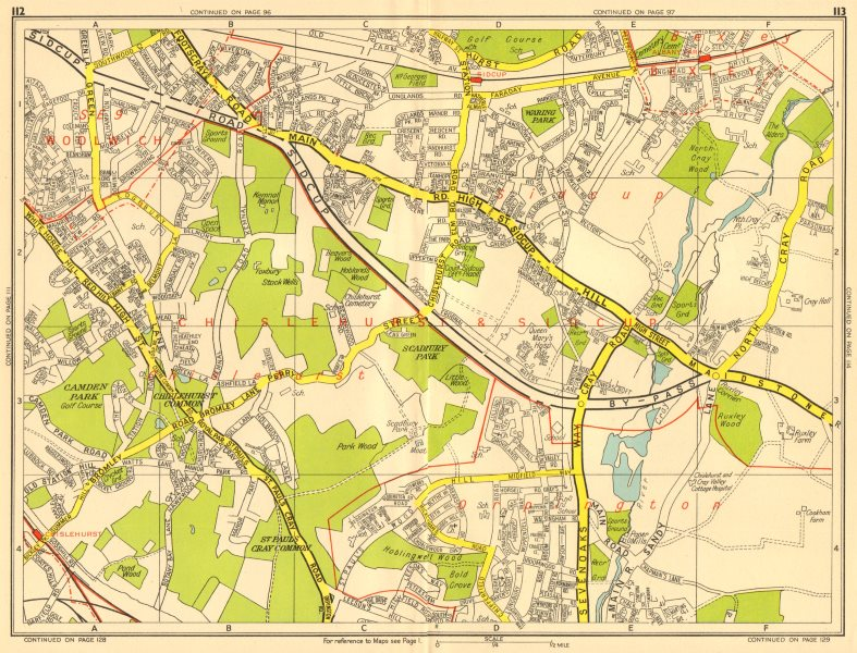 Associate Product CHISLEHURST SIDCUP Orpington Bexley Eltham. GEOGRAPHERS' A-Z 1956 old map