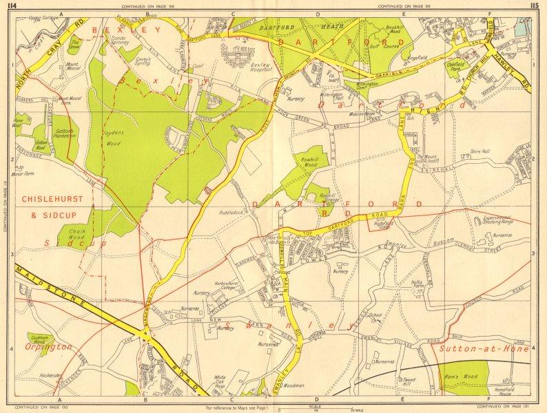 Associate Product HEXTABLE Swanley Dartford Bexley Joyden's Wood. GEOGRAPHERS' A-Z 1956 old map