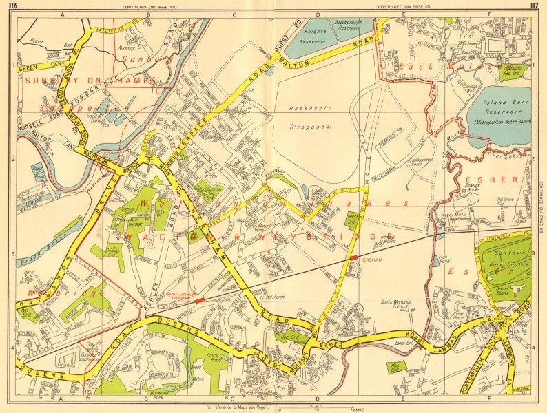 Associate Product WALTON-ON-THAMES Shepperton Sunbury Esher East Molesey. GEOGRAPHERS A-Z 1956 map