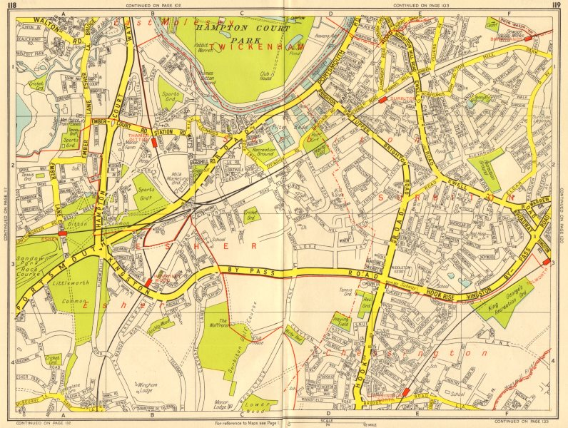 Associate Product SURBITON Esher Thames Ditton Chessington Tolworth. GEOGRAPHERS' A-Z 1956 map