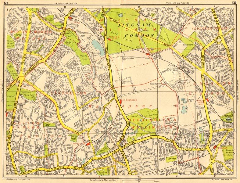 Associate Product SUTTON Carshalton Morden Mitcham Common Croydon. GEOGRAPHERS' A-Z 1956 old map