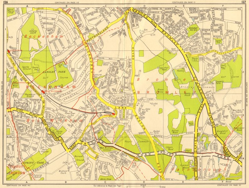 Associate Product BROMLEY SOUTH Hayes West Wickham Eden Park . GEOGRAPHERS' A-Z 1956 old map