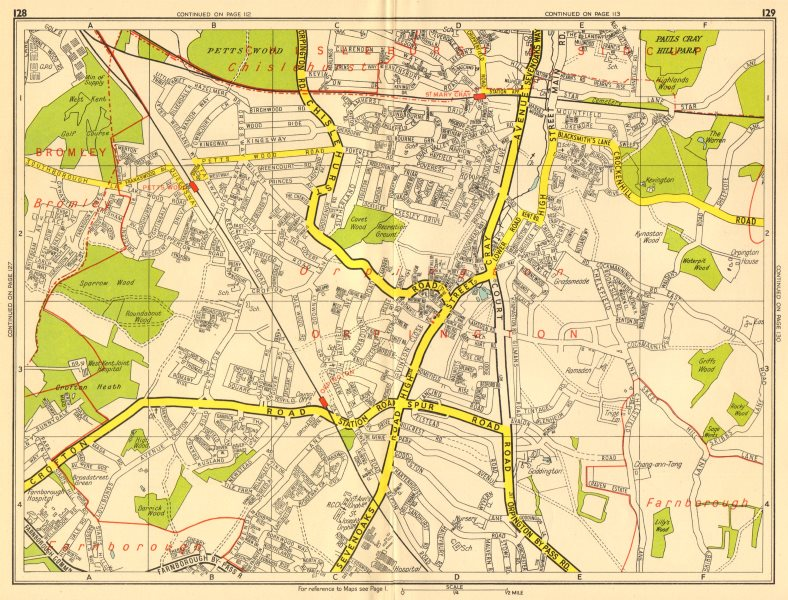 Associate Product ORPINGTON Bromley Pett's Wood St Mary Cray. GEOGRAPHERS' A-Z 1956 old map