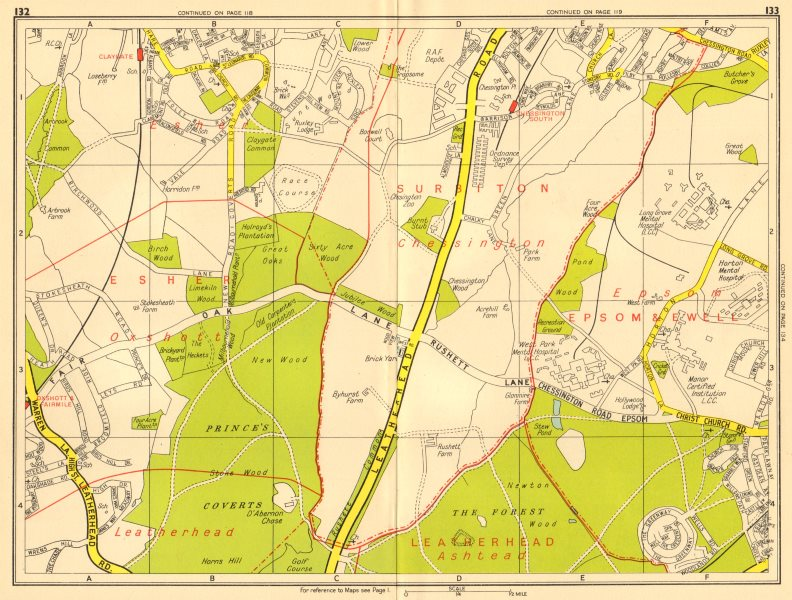 Associate Product LONDON SW Chessington Claygate Oxshott Surbiton Epsom. GEOGRAPHERS' A-Z 1956 map