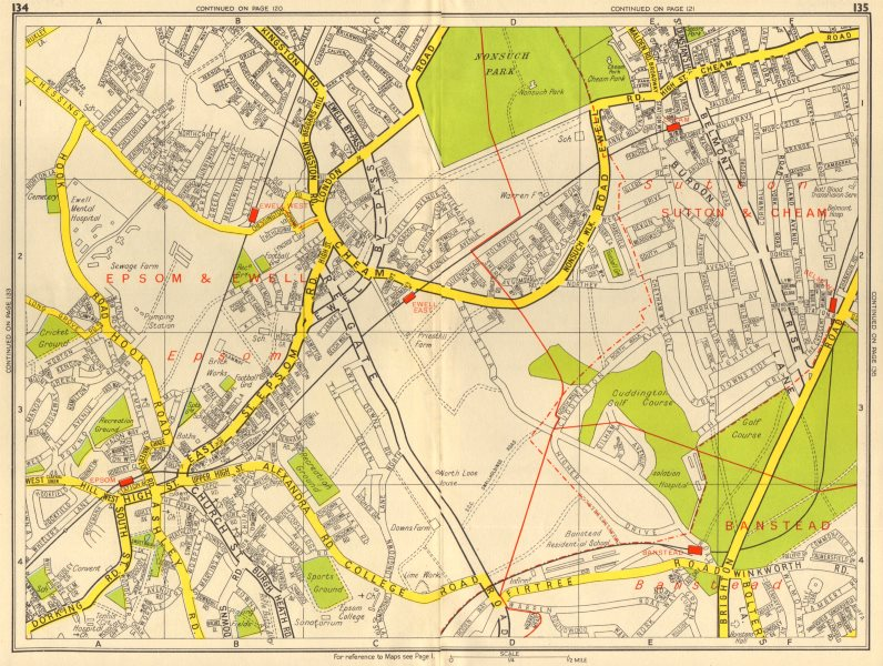 Associate Product EPSOM & EWELL Cheam Belmont Banstead Sutton. GEOGRAPHERS' A-Z 1956 old map