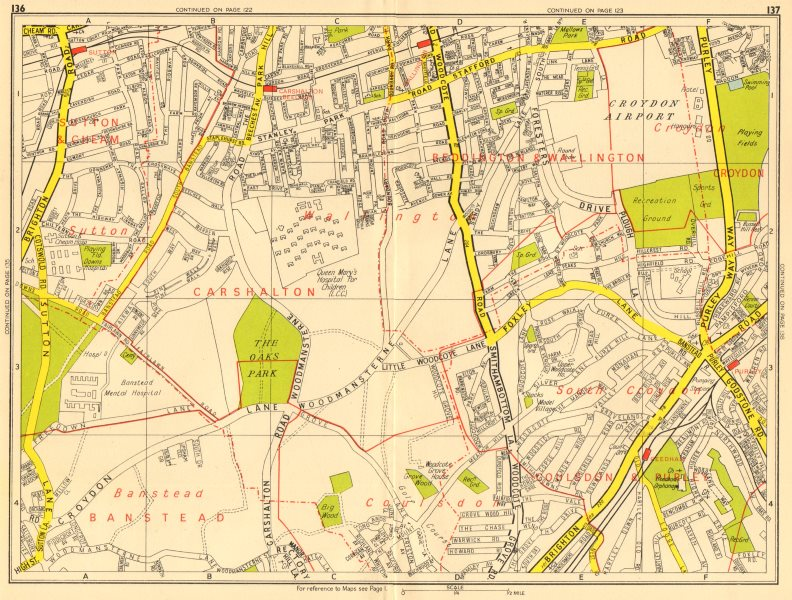 Associate Product PURLEY WALLINGTON Carshalton Coulsdon Croydon Airport. GEOGRAPHERS' A-Z 1956 map