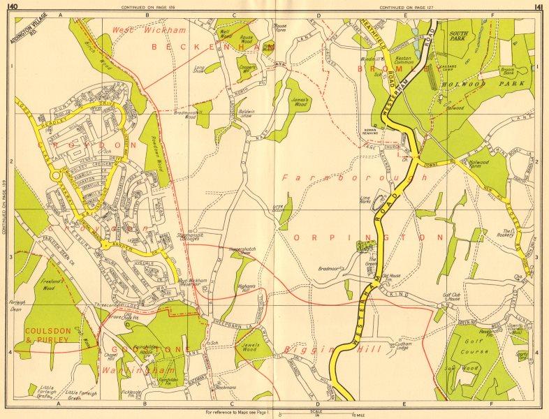 Associate Product NEW ADDINGTON Biggin Hill Holwood Park Farnborough. GEOGRAPHERS' A-Z 1956 map