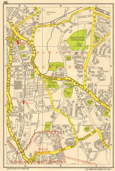Associate Product UXBRIDGE Cowley West Drayton Hillingdon. GEOGRAPHERS' A-Z 1956 old vintage map