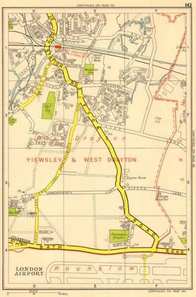 Associate Product YIEWSLEY & WEST DRAYTON. Harmondsworth Sipson Heathrow. GEOGRAPHERS A-Z 1956 map