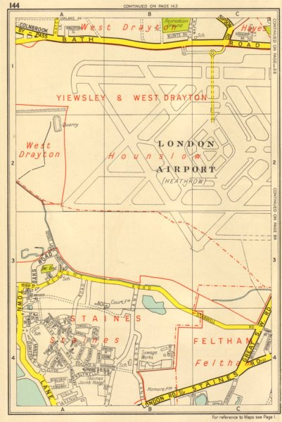 Associate Product HEATHROW AIRPORT Staines Feltham Hayes West Drayton. GEOGRAPHERS A-Z 1956 map
