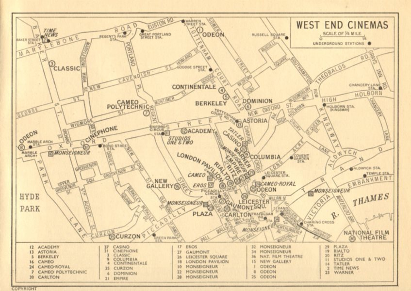 Associate Product LONDON West End Cinemas. News Cinemas (square). GEOGRAPHERS' A-Z 1956 old map