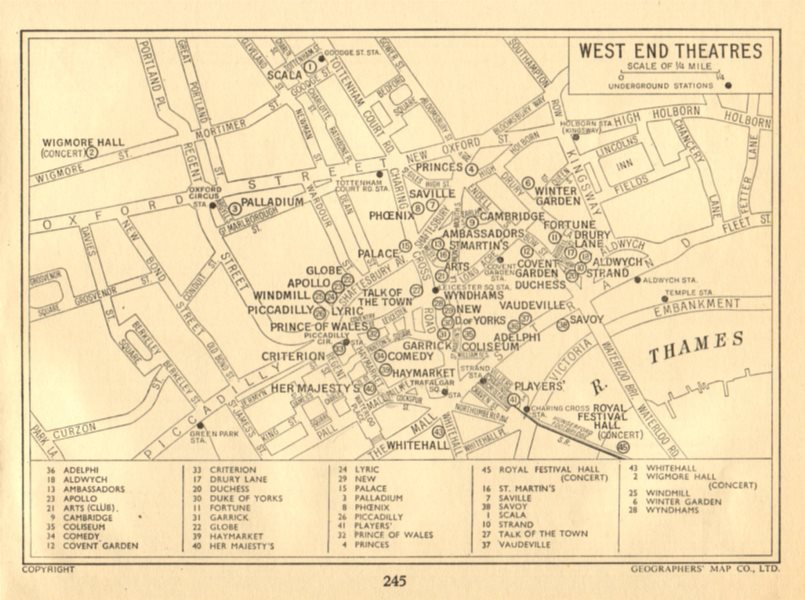 LONDON West End Theatres. GEOGRAPHERS' A-Z 1956 old vintage map plan chart