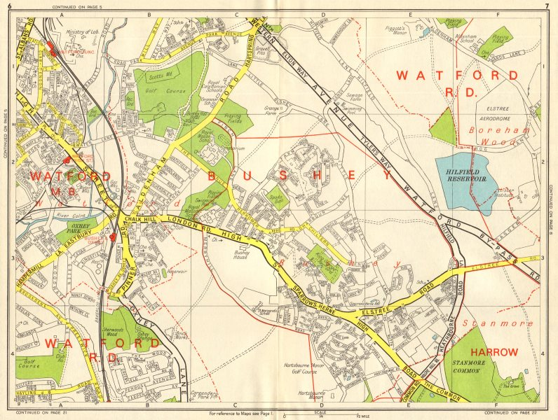 Associate Product BUSHEY & WATFORD Borehamwood Stanmore Common. GEOGRAPHERS' A-Z 1964 old map
