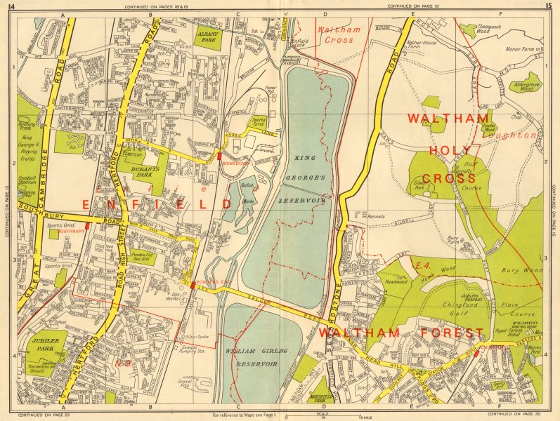Associate Product ENFIELD N9 E4 Brimsdown Chingford Ponder's End. GEOGRAPHERS' A-Z 1964 old map