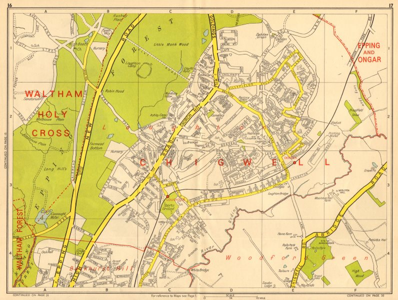 Associate Product LOUGHTON Debden Buckhurst Hill Chigwell Woodford Green. GEOGRAPHERS A-Z 1964 map