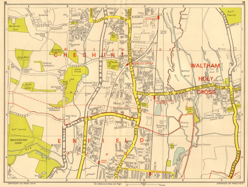 Associate Product ENFIELD WALTHAM CROSS Cheshunt Theobalds Grove. GEOGRAPHERS' A-Z 1964 old map