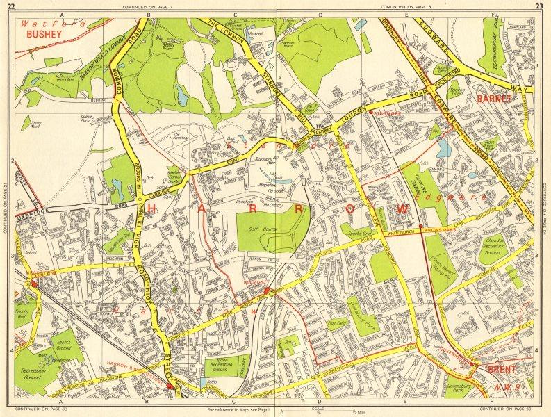 Associate Product HARROW STANMORE Edgware Queensbury Belmont Wealdstone. GEOGRAPHERS' A-Z 1964 map