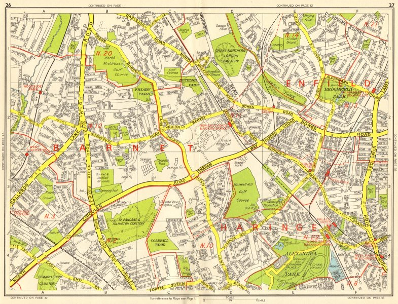 Sections Of London Map.London N Southgate Finchley Wood Green Arnos Grove Geographers A Z