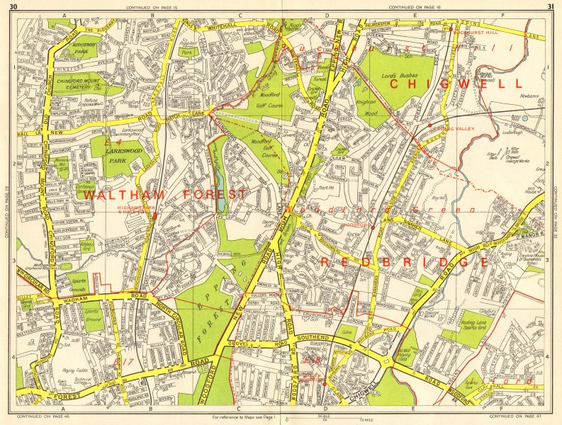 Associate Product WOODFORD GREEN CHINGFORD Buckhurst Hill Walthamstow. GEOGRAPHERS' A-Z 1964 map