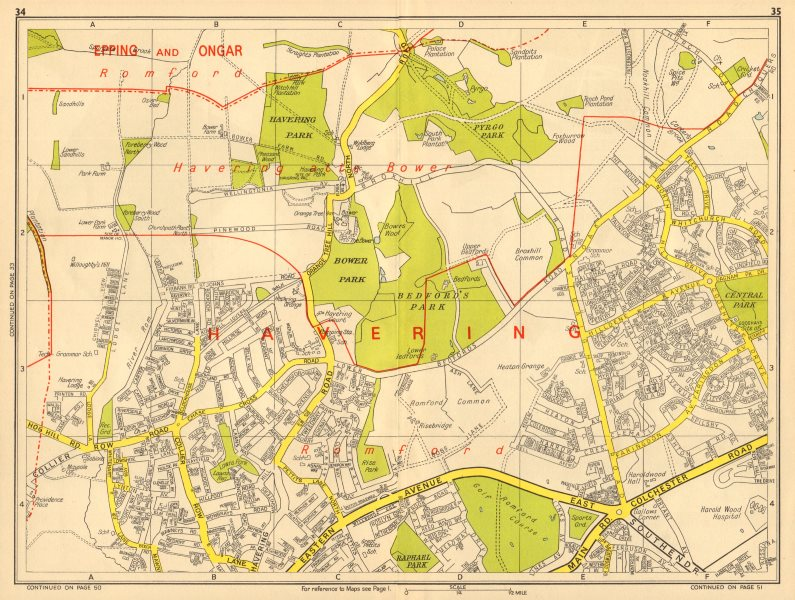 ROMFORD Havering-atte-Bower Harold Hill Collier Row. GEOGRAPHERS' A-Z 1964 map