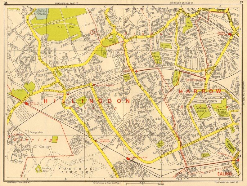 Associate Product RUISLIP Harrow Pinner Ickenham Rayner's Lane Eastcote. GEOGRAPHERS' A-Z 1964 map