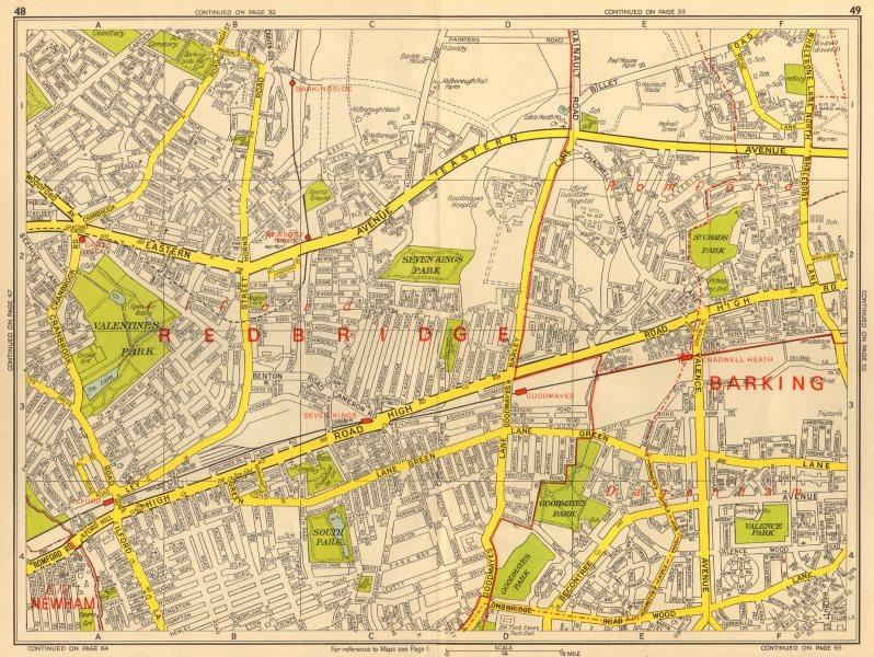 Associate Product ILFORD Dagenham Romford Barkingside Chadwell Heath. GEOGRAPHERS' A-Z 1964 map