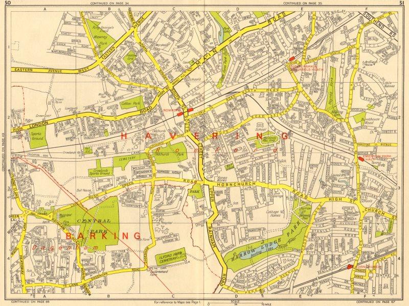 Associate Product ROMFORD Hornchurch Dagenham Emerson Park Gidea Park. GEOGRAPHERS' A-Z 1964 map