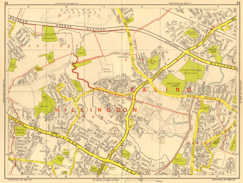 Associate Product HAYES HILLINGDON Southall Greenford Northolt . GEOGRAPHERS' A-Z 1964 old map