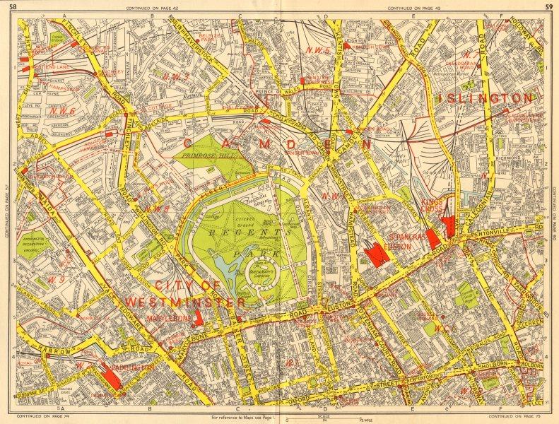 Associate Product Marylebone Islington St John's Wood Bloomsbury Camden. GEOGRAPHERS' A-Z 1964 map