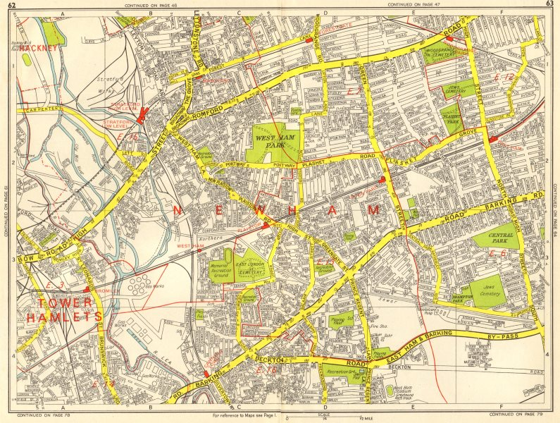 Associate Product LONDON EAST END Tower Hamlets Newham Stratford West Ham GEOGRAPHERS A-Z 1964 map