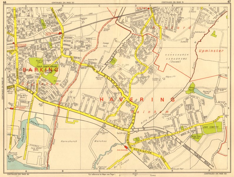 Associate Product SOUTH HORNCHURCH Rainham Dagenham Elm Park. GEOGRAPHERS' A-Z 1964 old map