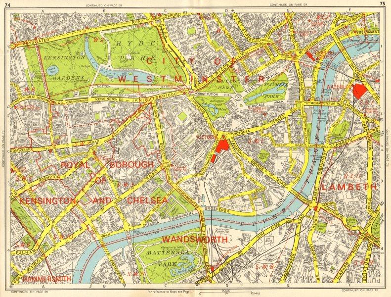 Associate Product WESTMINSTER CHELSEA LAMBETH Battersea Mayfair Victoria. GEOGRAPHERS A-Z 1964 map