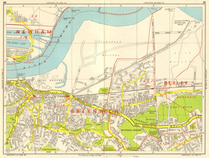 Associate Product WOOLWICH Plumstead Abbey Wood Belvedere Thamesmead. GEOGRAPHERS' A-Z 1964 map